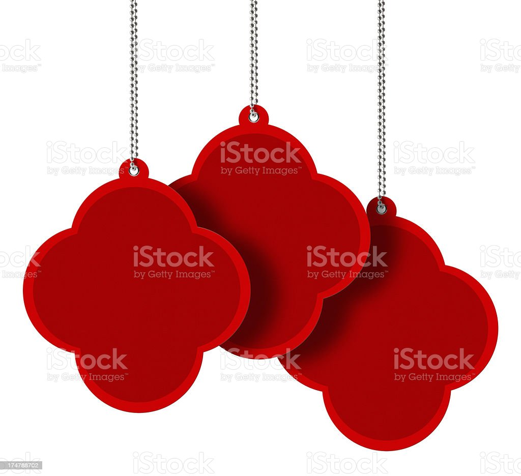 Red Vintage Blank Tags (Clipping Path) royalty-free stock photo