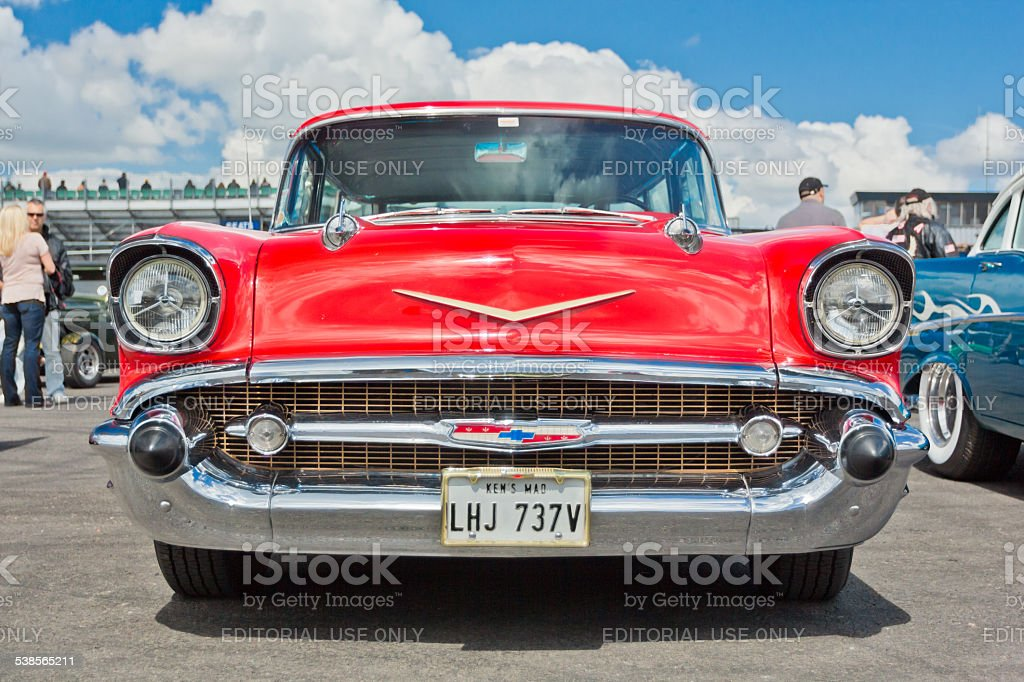 Red vintage Chevrolet Bel Air stock photo
