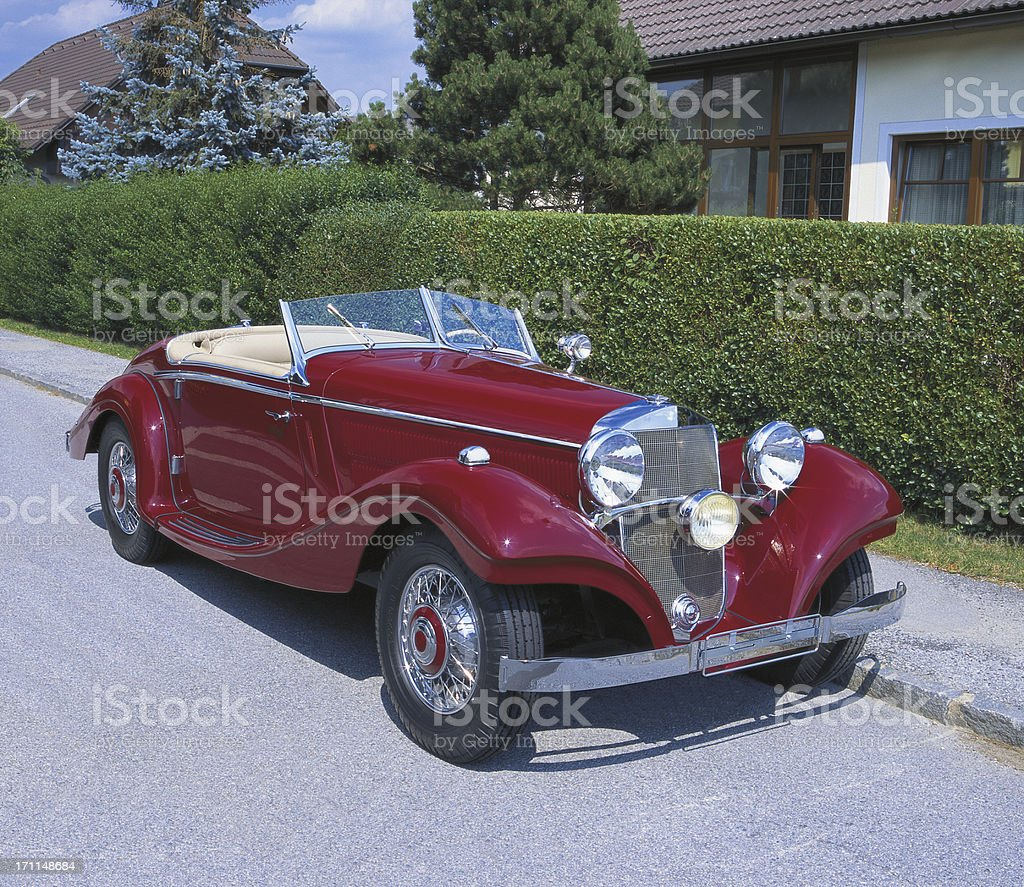 Red Vintage Convertible Car royalty-free stock photo