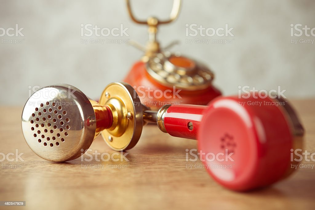 red vintage dial plate telephone royalty-free stock photo