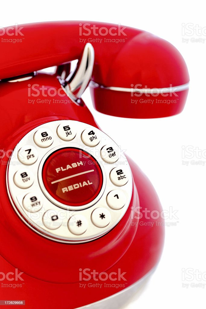 Red Vintage Phone Close up royalty-free stock photo
