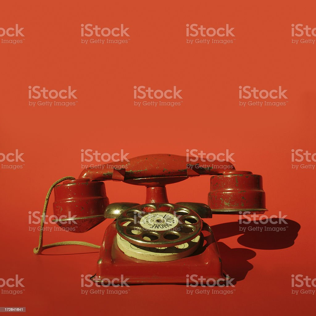 red vintage phone royalty-free stock photo