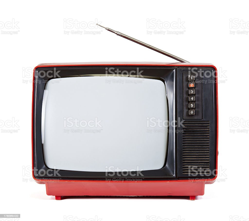 Red vintage portable TV set with antennae over white stock photo