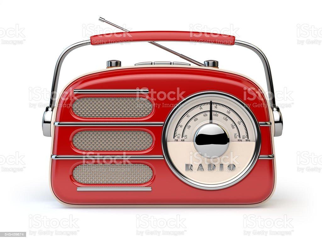 Red vintage retro radio receiver isolated on white. stock photo