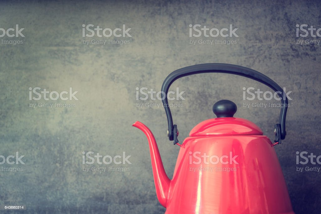 Red vintage style kettle stock photo