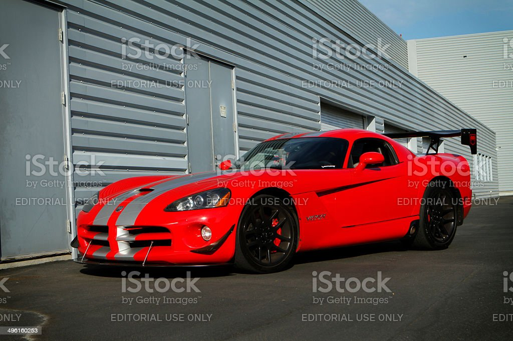 Red Viper 2006 SRT10 with stripes stock photo