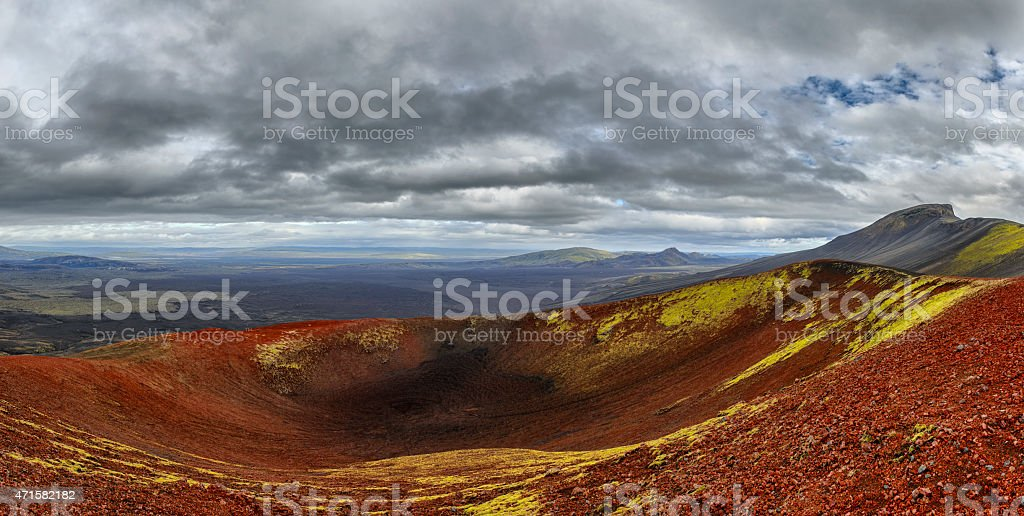 Red volcano in Iceland panorama stock photo
