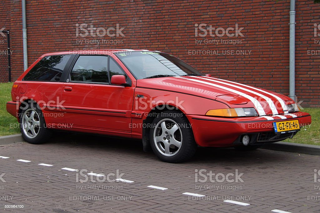 Red Volvo 480 S E2 sports coupe stock photo