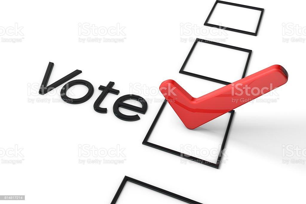 Red Vote tick box stock photo