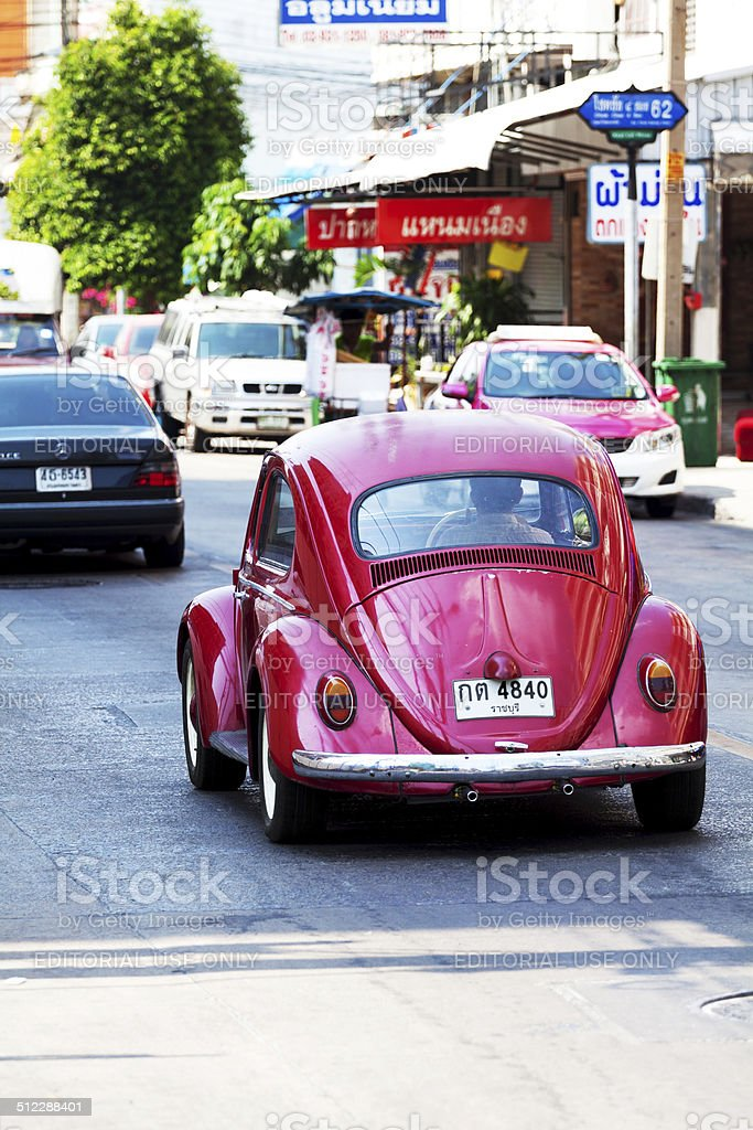 Red VW Beetle stock photo
