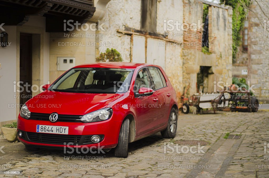 Red VW Golf royalty-free stock photo