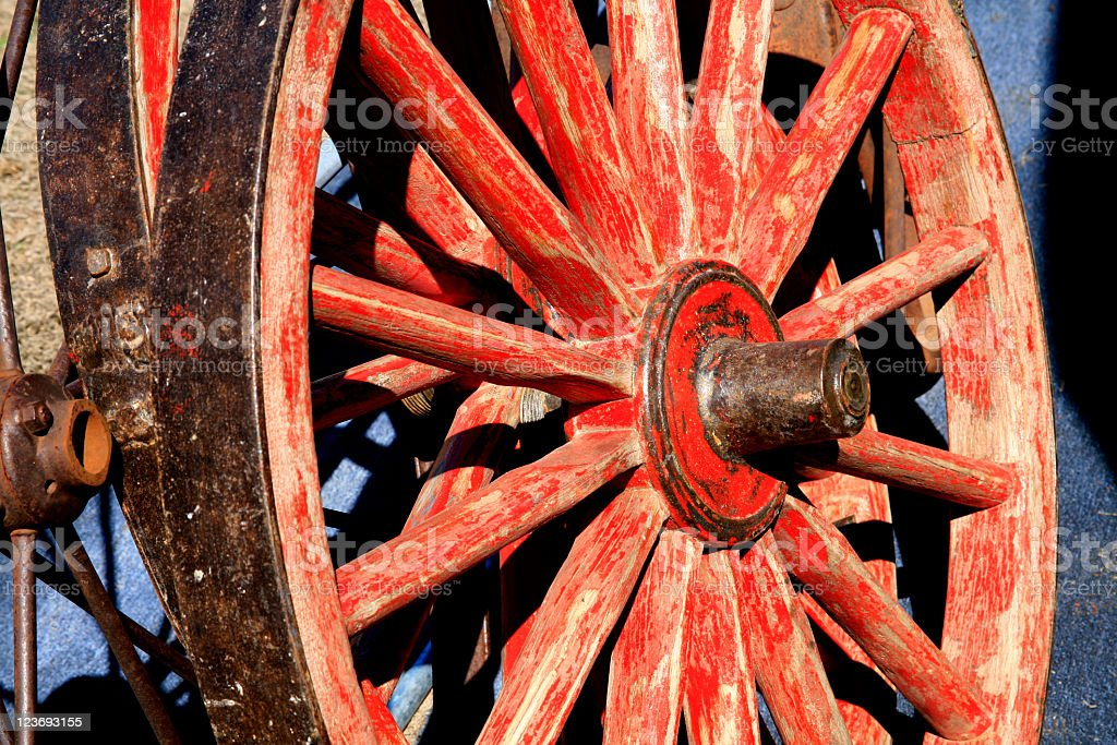 Red Wagon Wheel royalty-free stock photo