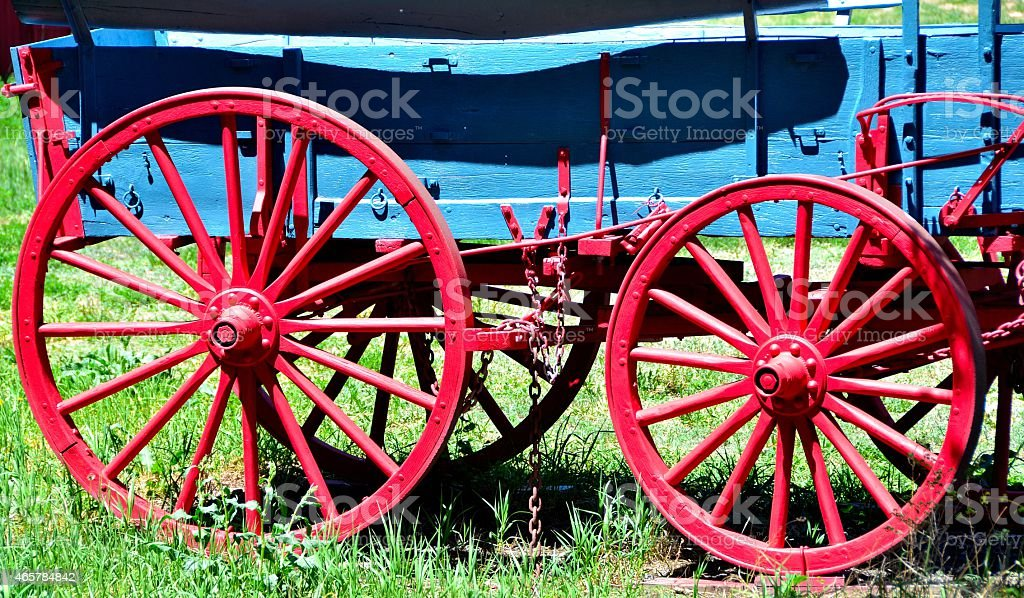 Red Wagon Wheels stock photo