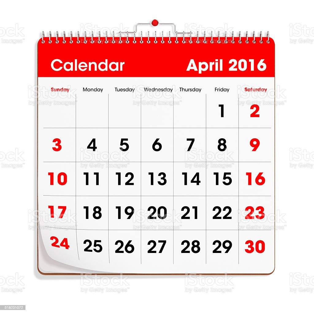 Red Wal Calendar - April 2016 stock photo