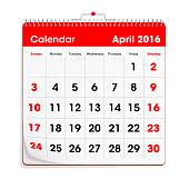 Red Wal Calendar - April 2016