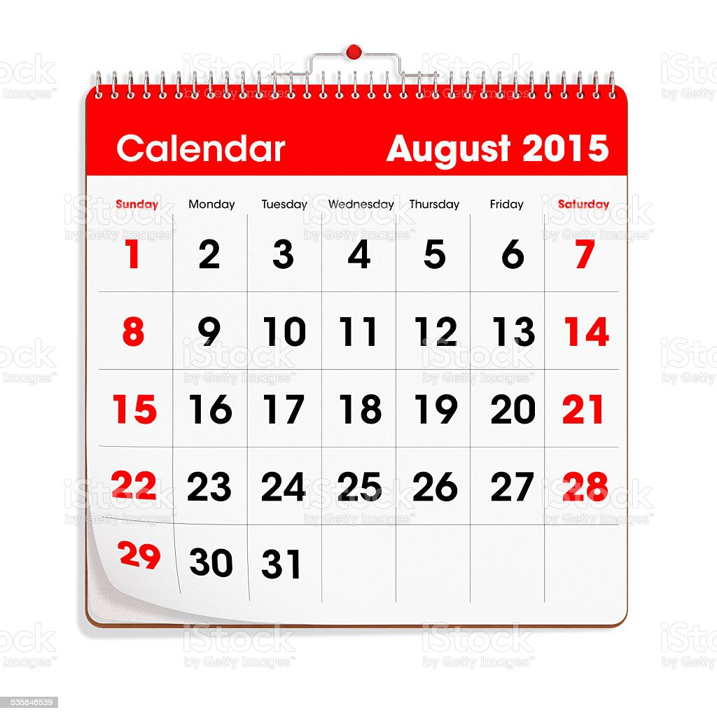 Red Wal Calendar - August 2015 stock photo