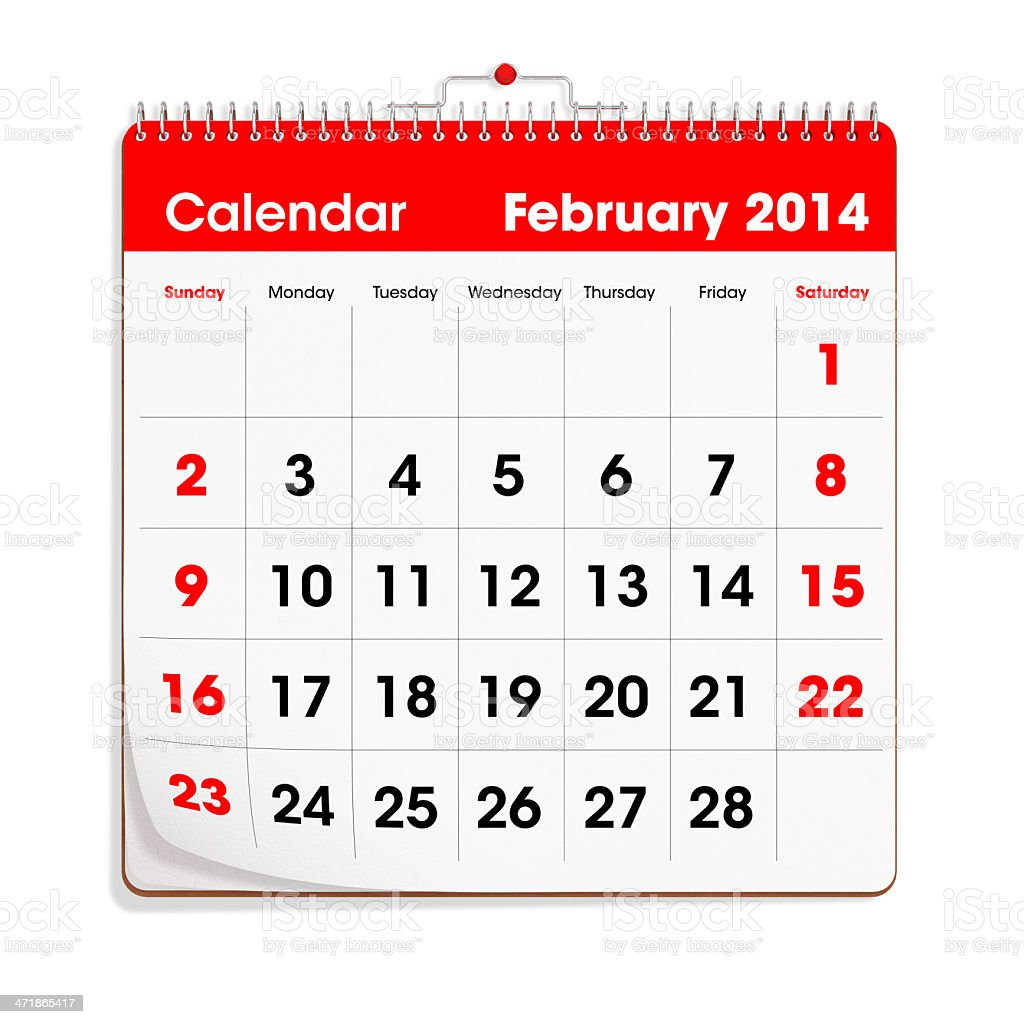Red Wal Calendar - February 2014 royalty-free stock photo