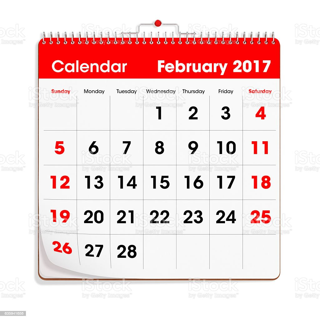 Red Wal Calendar - February 2017 stock photo