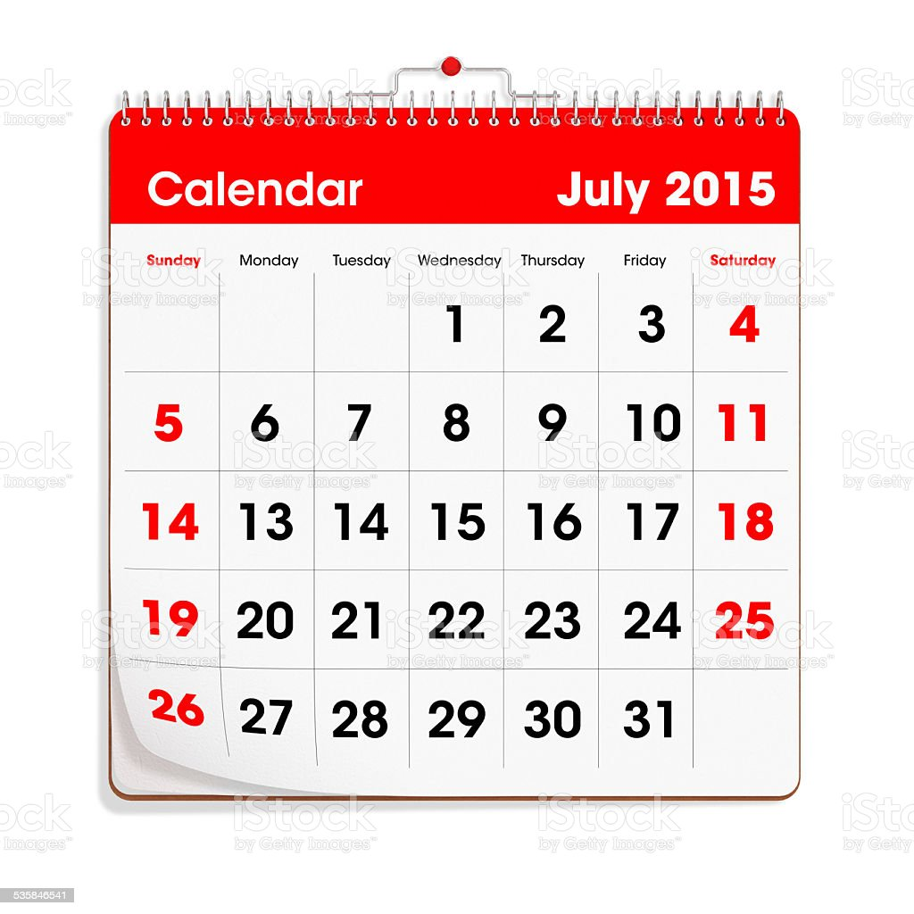 Red Wal Calendar - July 2015 stock photo