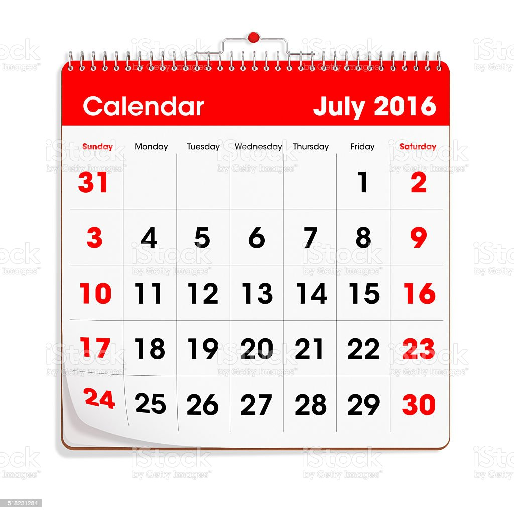 Red Wal Calendar - July 2016 stock photo