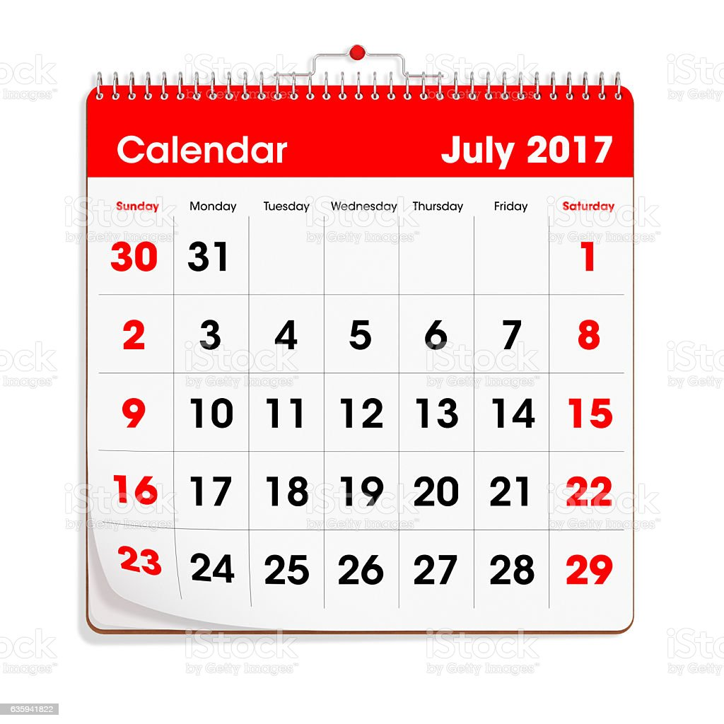 Red Wal Calendar - July 2017 stock photo