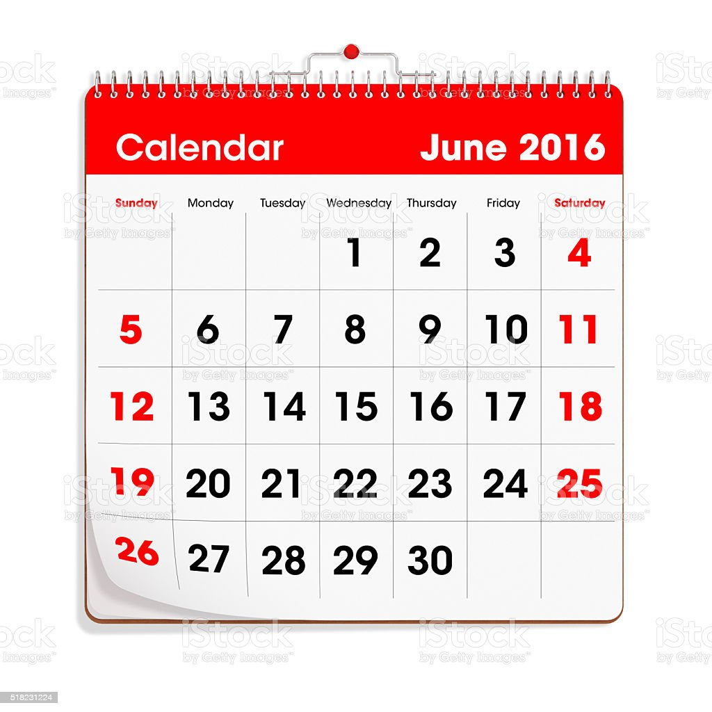 Red Wal Calendar - June 2016 stock photo