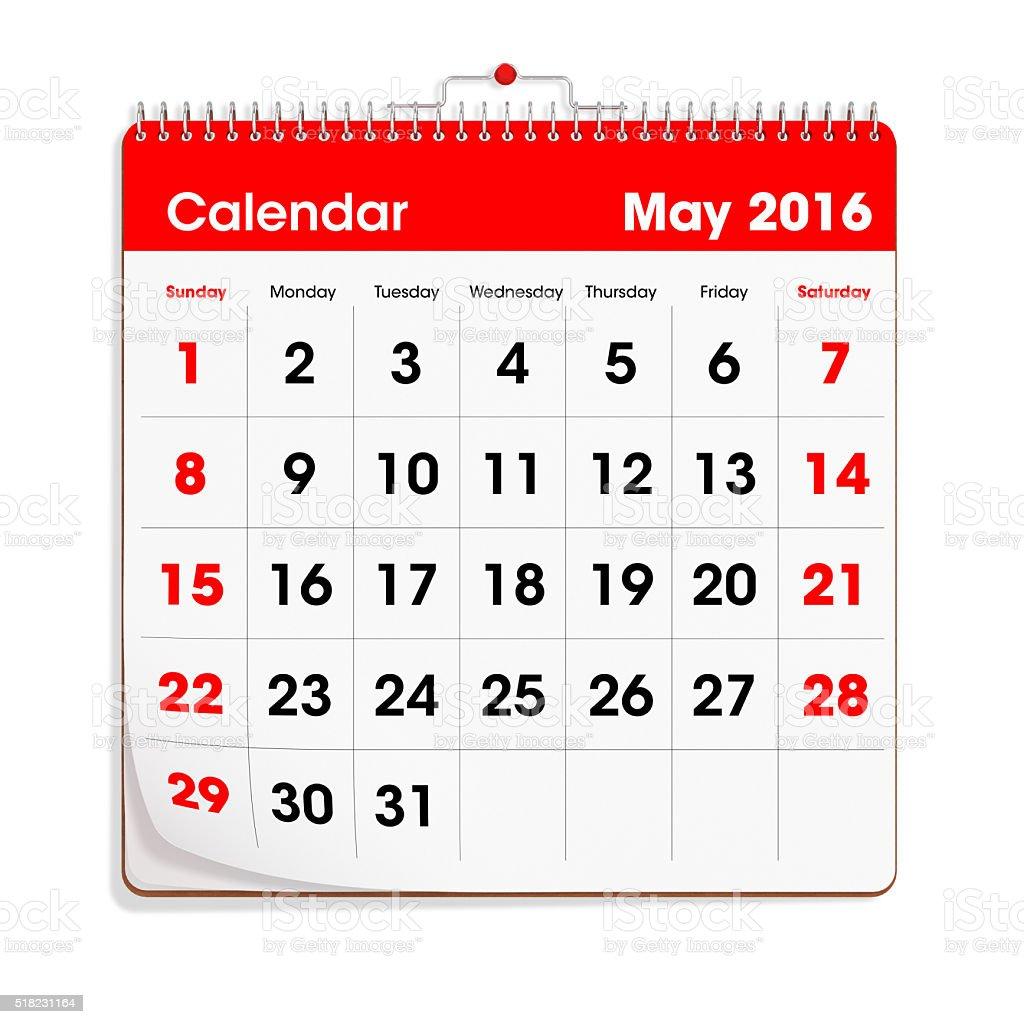 Red Wal Calendar - May 2016 stock photo