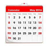 Red Wal Calendar - May 2016