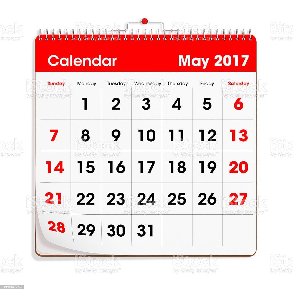 Red Wal Calendar - May 2017 stock photo