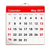 Red Wal Calendar - May 2017