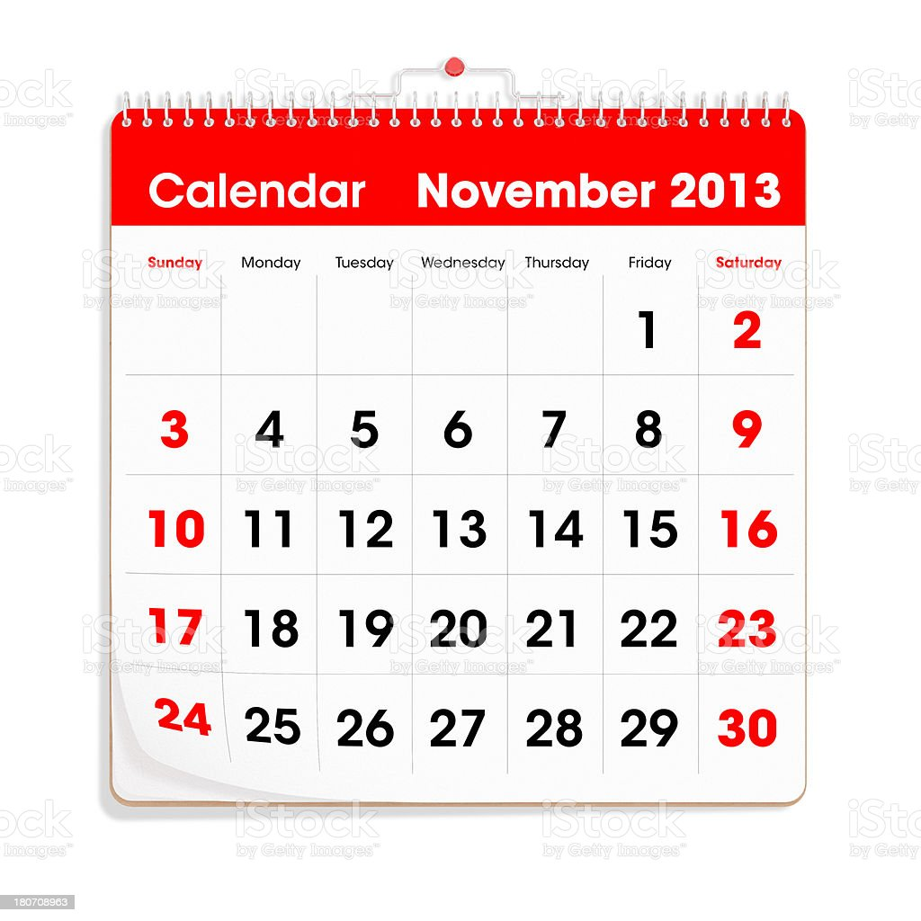 Red Wal Calendar - November 2013 royalty-free stock photo
