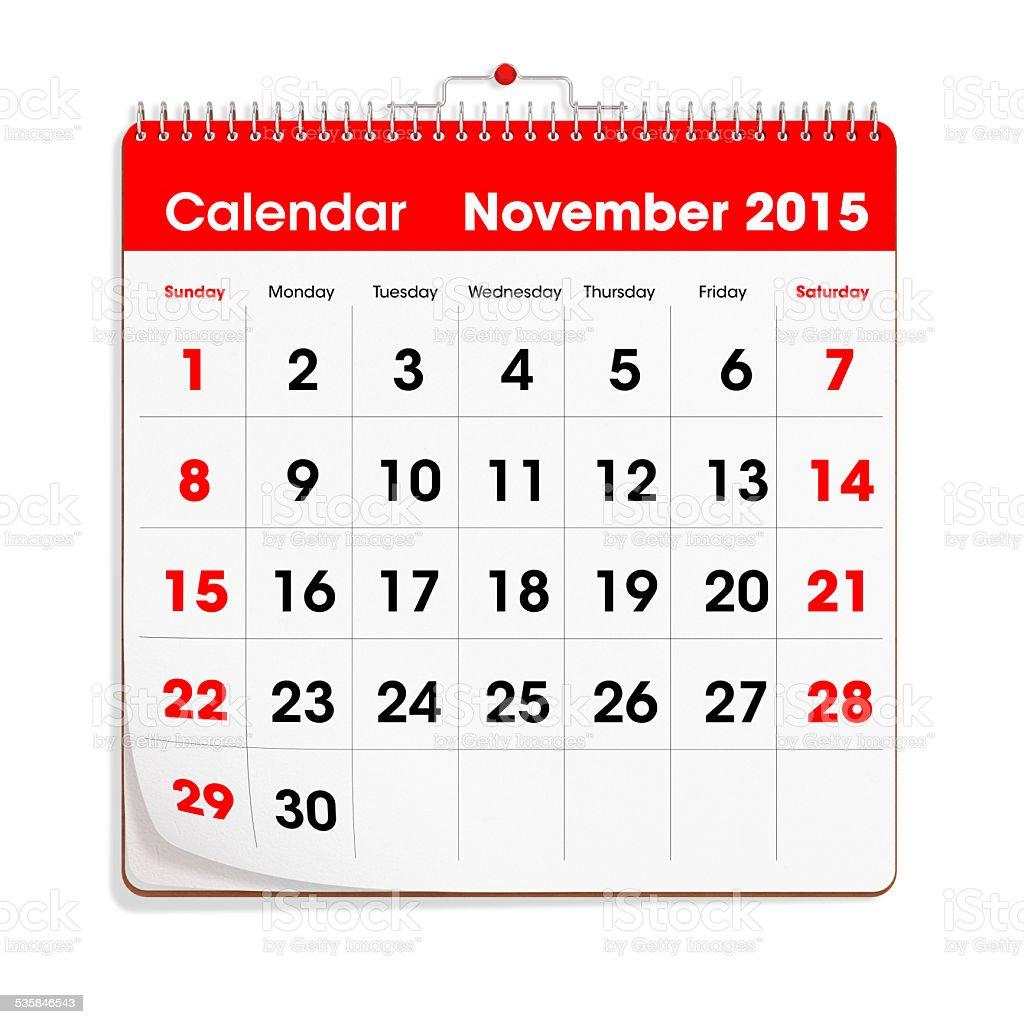 Red Wal Calendar - November 2015 stock photo