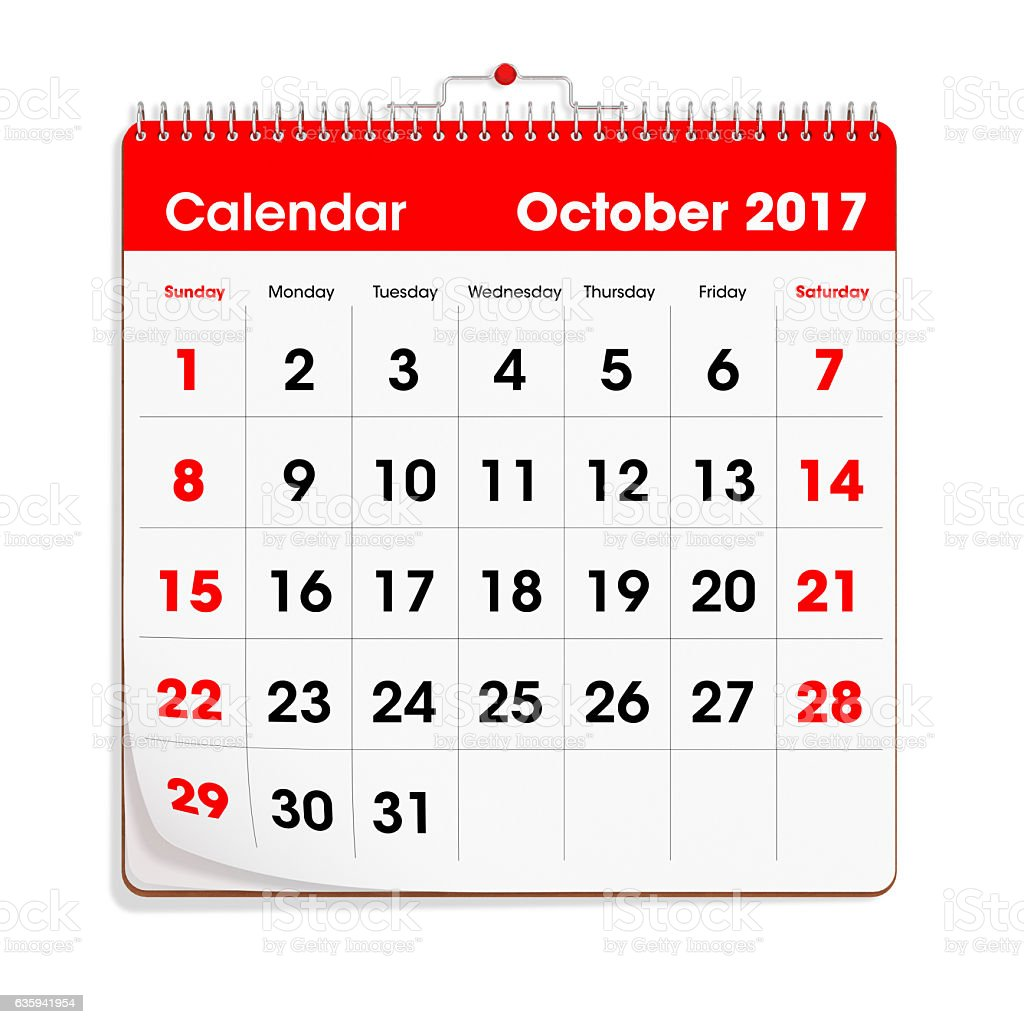 Red Wal Calendar - October 2017 stock photo