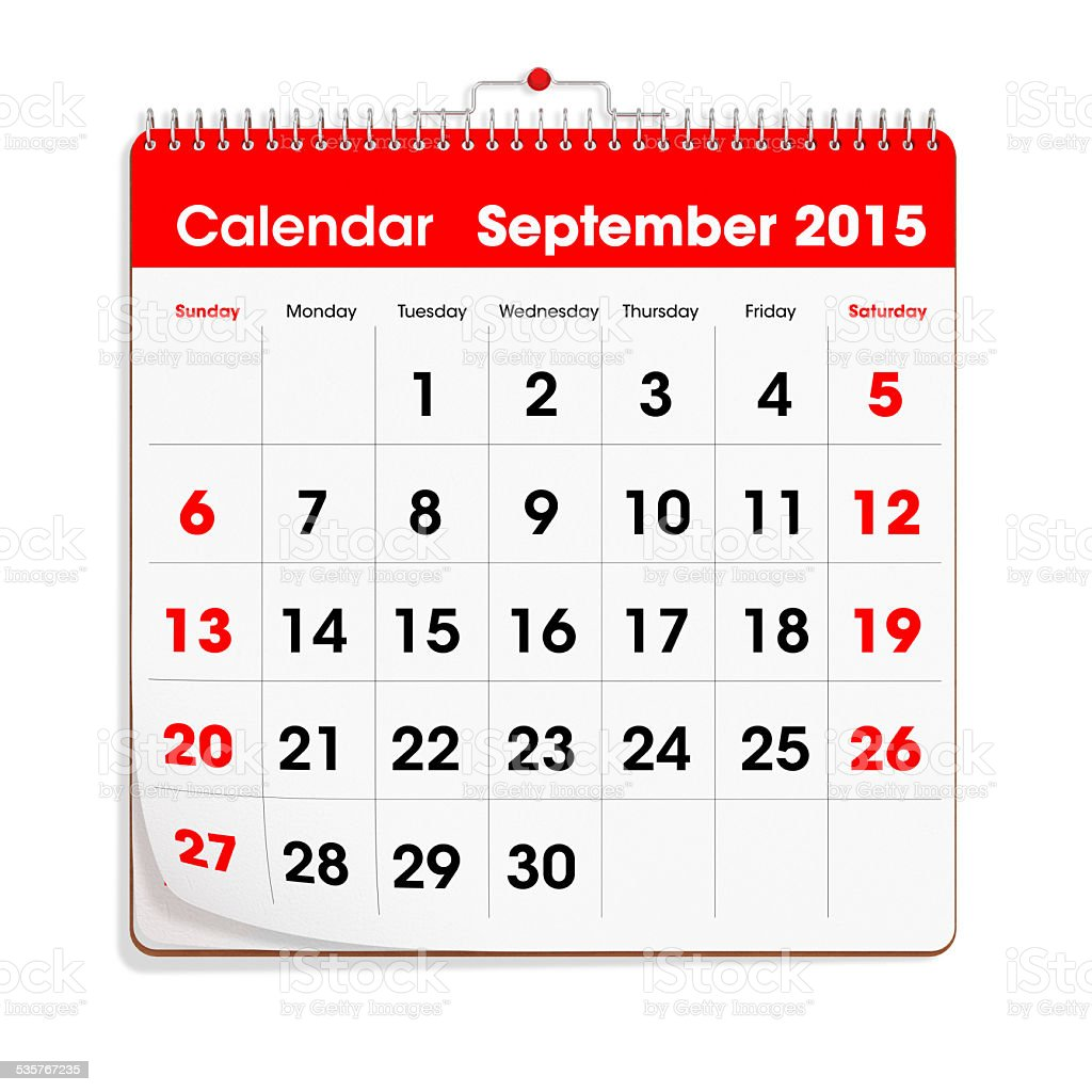 Red Wal Calendar - September 2015 stock photo