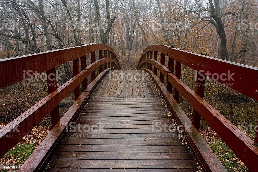red walking bridge stock photo