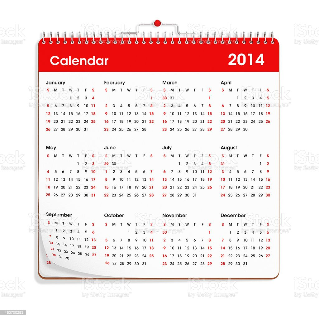 Red Wall Calendar - 2014 royalty-free stock photo