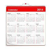 Red Wall Calendar - 2014