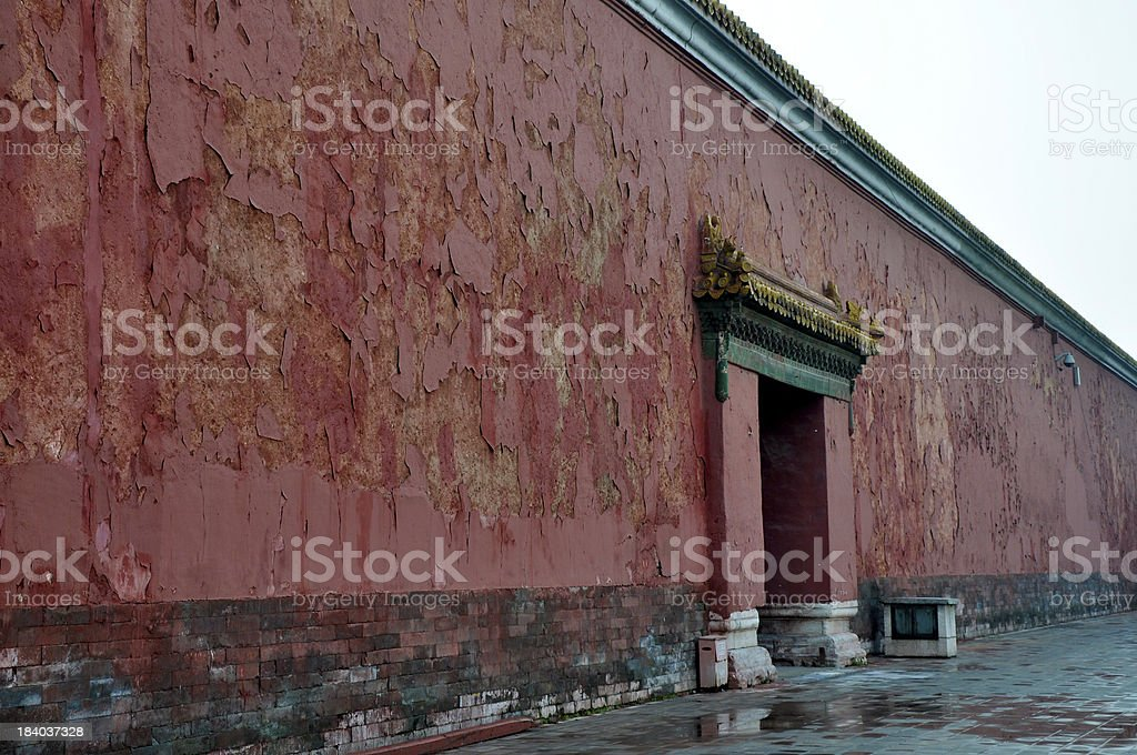 Red wall with peeling paint stock photo