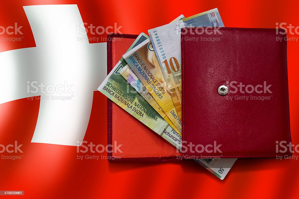 Red wallet swiss franc flag stock photo