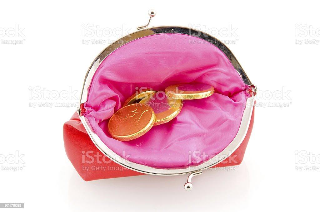 Red portefeuille avec de l'argent au chocolat photo libre de droits