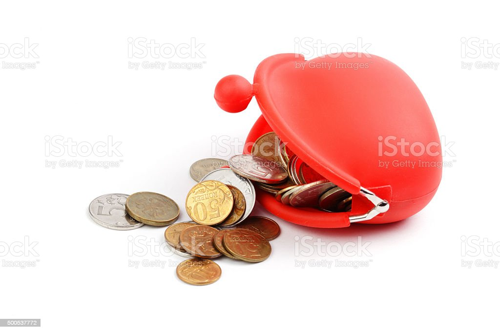 Red wallet with coins on white background stock photo