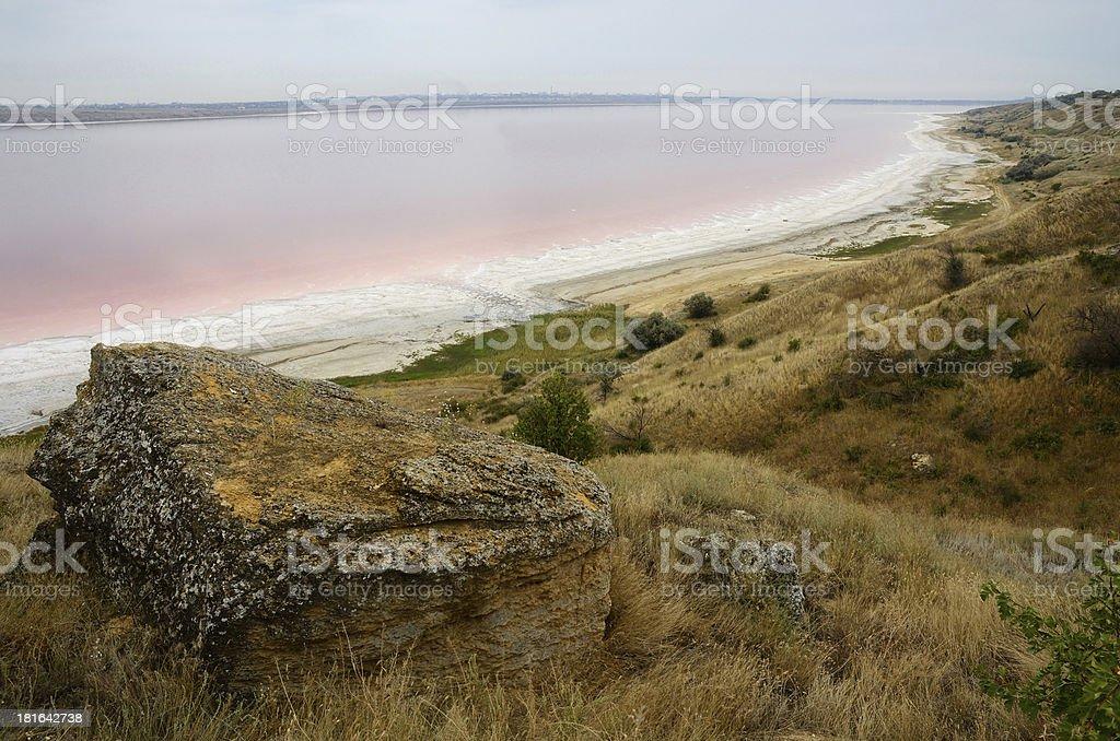 Red water of salt Kuyalnicky liman,Odessa,Ukraine royalty-free stock photo