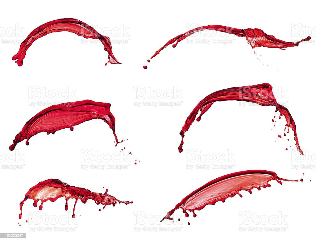 red water splash collection isolated on white background royalty-free stock photo