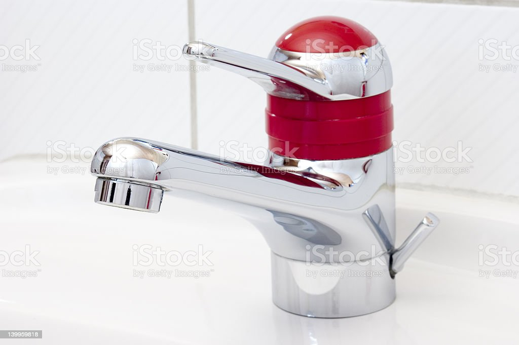 Red water tap stock photo