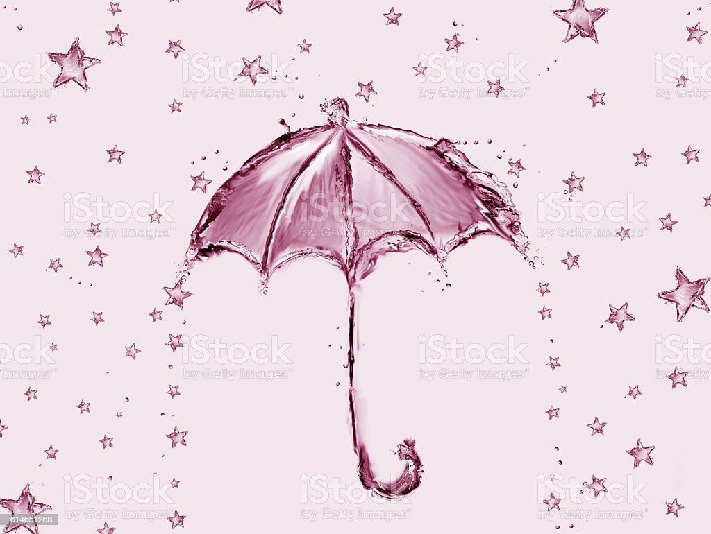 Red Water Umbrella and Stars royalty-free stock photo