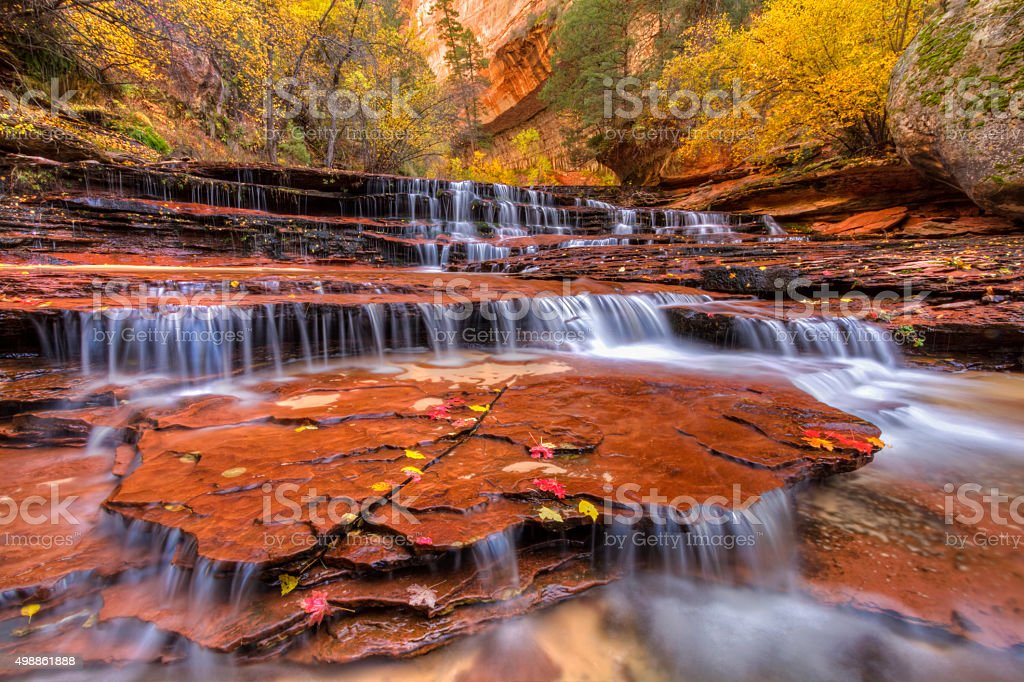 Red Waterfalls Wide Angle stock photo
