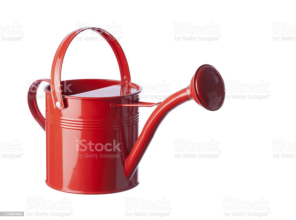 Red Watering Can On White Background stock photo