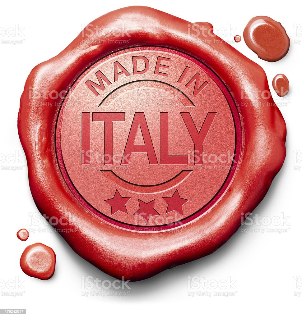 3D red wax illustration with made in Italy stamped on royalty-free stock photo