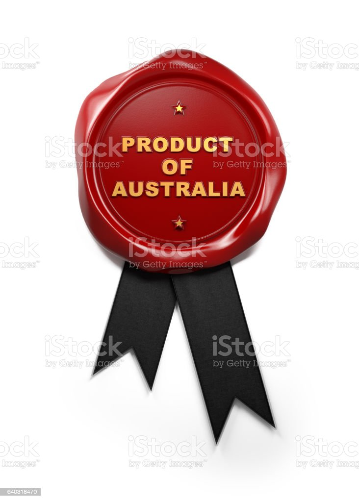 Red Wax Product of Australia Seal Isolated on White Background stock photo