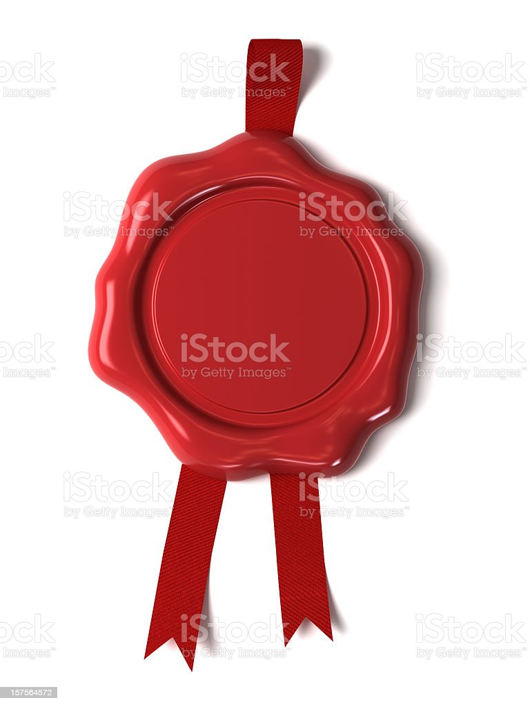 Red wax seal against white background stock photo